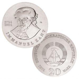 DDR 20 Mark 1974 250. Geburtstag Immanuel Kant. , 625er Silber, 20.9g, Ø 33mm, Prägestätte A (Berlin), Auflage: 67.883 (PP: 4.284), Jaeger-Nr. 1549