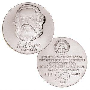 DDR 20 Mark 1983 100. Todestag Karl Marx, Neusilber (CuZnNi), 15g, Ø 33mm, Prägestätte A (Berlin), Auflage: 940.000 (Exportqualität: 60.000, PP: 6.000), Jaeger-Nr. 1592
