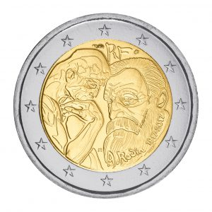 """Der Denker - auf der Münze """"Frankreich 2 Euro-Gedenkmünze 2017 Rodin"""""""