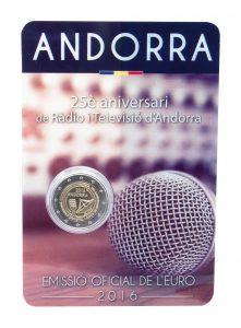 Andorra 2 Euro-Gedenkmünze 2016 25 Jahre öffentlich-rechtlicher Rundfunk in Andorra