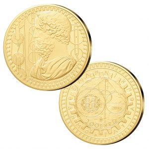 Griechenland 200 Euro 2014 Aristoteles, 916,666er Gold, 7,9881g, 22,10mm, im Etui mit Echtheitszertifikat, PP, Auflage: 750