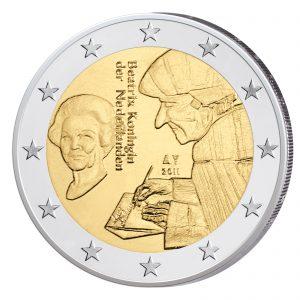 """Niederlande 2 Euro-Gedenkmünze 2011 500 Jahre """"Lob der Torheit"""" des Erasmus von Rotterdam"""