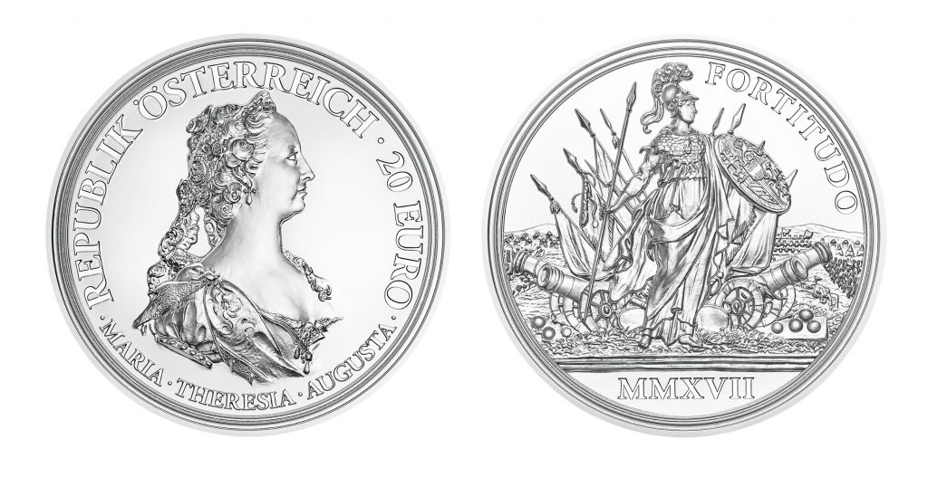 """Österreich 20 Euro 2017 """"Maria Theresia – Schätze der Geschichte. Tapferkeit und Entschlossenheit"""", 925er Silber, Ø 34,00 mm, im Etui, OO, Auflage: 30.000"""