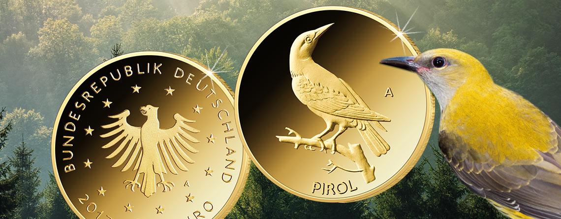 Jetzt flügge: der Pirol. Deutschlands neue 20 Euro-Goldmünze 2017 jetzt ausgegeben