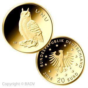 "BRD 20 Euro Gold 2018 ""Heimische Vögel: Uhu"", Bild © BADV"