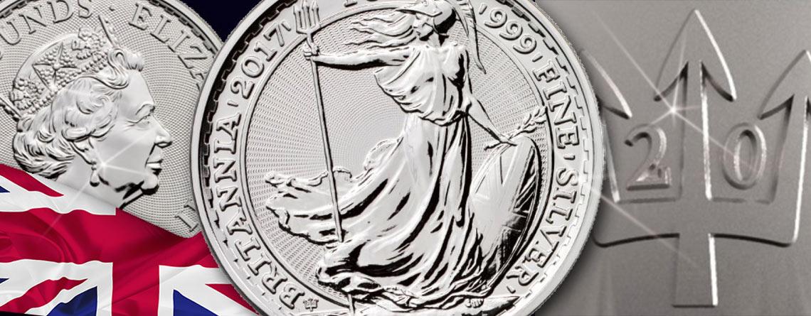 20 Jahre Britannia in Silber - Jubiläumsmünze 2017 mit Dreizack Privy Mark