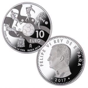 """Spanien 10 Euro 2017 """"WM 2018 – Russland"""", 925er Silber, 27g, Ø 40mm, PP, Auflage: 50.000"""