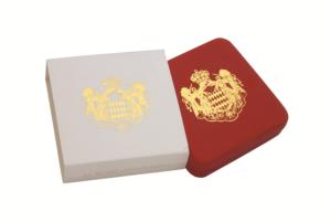 """Umverpackung und geschlossenes Etui der Münze Monaco 2 Euro-Gedenkmünze 2007 """"25. Todestag Gracia Patricia, st, Auflage: 20.001"""