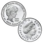 """Großbritannien 5 Pfund 1999 """"In memory of Diana, Princess of Wales"""", CuNi, 38,61mm, 28,28g (motivgleich wurde eine Goldmünze geprägt, Auflage 7.500, über 1 Unze 916er Gold)"""