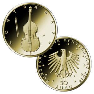 BRD 50 Euro Goldmünze 2018 Der Kontrabass, Copyright BVA, Entwurf: Erich Ott