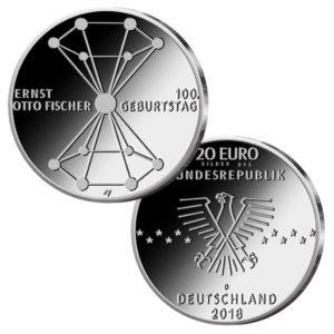 BRD 20 Euro 2018 100. Geburtstag Ernst Otto Fischer, Copyright des Münzentwurf BVA