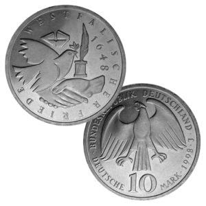 BRD 10 DM-Gedenkmünzen 1998 – 2001