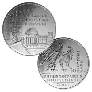 BRD 10 DM 2000 10. Jahrestag der Deutschen Einheit