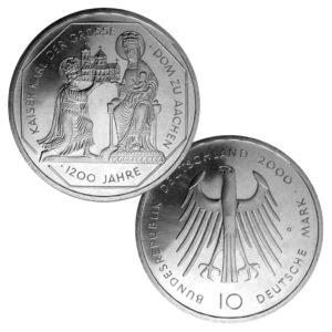 BRD 10 DM 2000 1.200 Jahrestag Kaiserkrönung Karls des Großen und Dom zu Aachen