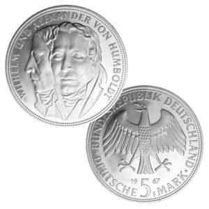BRD 5 DM-Gedenkmünzen 1966 – 1969