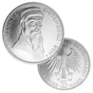 BRD 5 DM 1968 500. Todestag Johannes Gutenberg