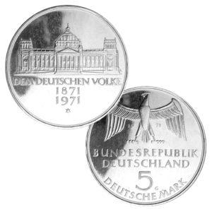 BRD 5 DM-Gedenkmünzen 1970 – 1974