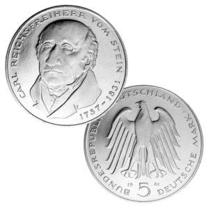 BRD 5 DM 1981 150. Todestag Heinrich Friedrich Carl Freiherr vom und zum Stein