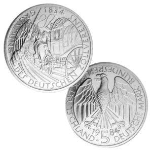 BRD 5 DM 1984 150. Jahre Gründungstag Deutscher Zollverein