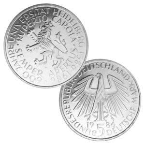 BRD 5 DM-Gedenkmünzen 1983 – 1986
