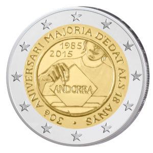 Andorra 2 Euro-Gedenkmünze 2015 – 30. Jahrestag der Volljährigkeit ab 18 Jahren