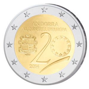 Andorra 2 Euro-Gedenkmünze 2014 – 20. Jahrestag Beitritt zum Europarat