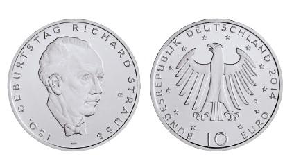 BRD 10 Euro 2014 150. Geburtstag Richard Strauss
