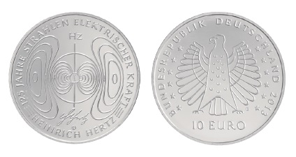 BRD 10 Euro 2013 125 Jahre Strahlen elektrischer Kraft – Heinrich Hertz