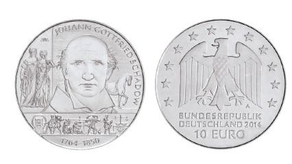 BRD 10 Euro 2014 250. Geburtstag Johann Gottfried Schadow