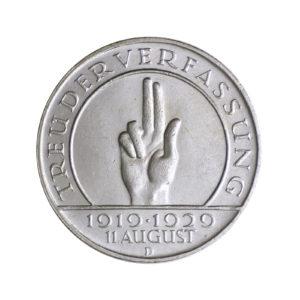 """Weimarer Republik, 3 Reichsmark 1929 """"10. Jahrestag der Weimarer Reichsverfassung"""", J. 340"""