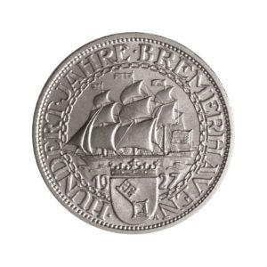 """Weimarer Republik 3 Reichsmark 1927 """"100 Jahre Bremerhaven"""", J. 325"""