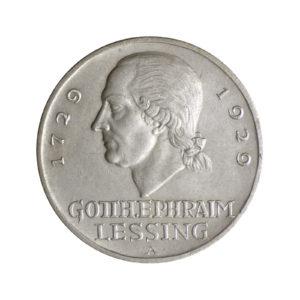 "Weimarer Republik 3 Reichsmark 1929 ""200. Geburtstag Gotthold Ephraim Lessing"", J. 335"