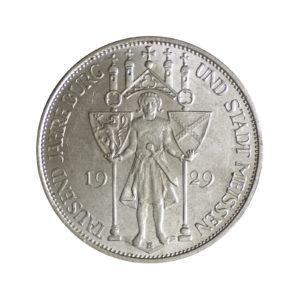 """Weimarer Republik 3 Reichsmark 1929 """"1000 Jahre Burg und Stadt Meißen"""", J. 338"""