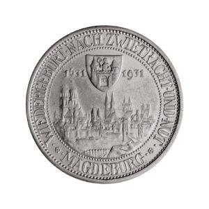 """Weimarer Republik 3 Reichsmark 1931 """"300. Jahrestag des Brands von Magdeburg"""", J. 347"""