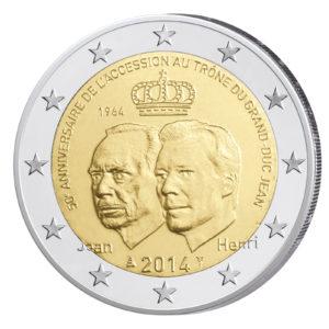 Luxemburg 2 Euro-Gedenkmünze 2014 - 50. Jahrestag der Thronbesteigung von Großherzog Jean