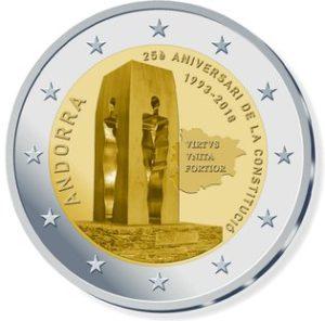 """Andorra 2 Euro-Gedenkmünze 2018 """"25. Jahrestag der Verfassung"""""""