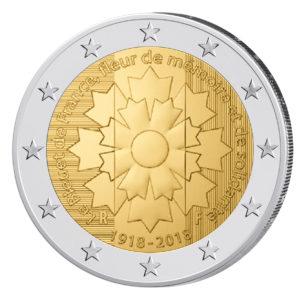 """Frankreich 2 Euro-Gedenkmünze 2018 """"Kornblume Frankreichs"""""""