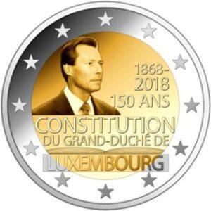 """Luxemburg 2 Euro-Gedenkmünze 2018 """"150. Jahrestag der luxemburgischen Verfassung"""