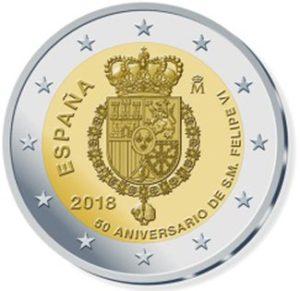 "Spanien 2 Euro-Gedenkmünze 2018 ""50. Geburtstag König Felipe VI."""