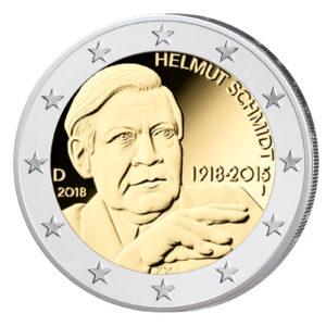 """Deutschland 2 Euro-Gedenkmünze 2018 """"100. Geburtstag Helmut Schmidt"""""""