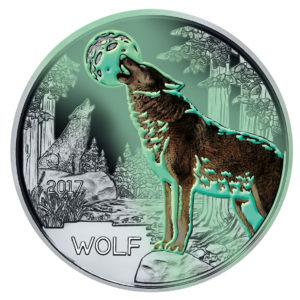 """Österreich 3 Euro 2016 """"Wolf"""", CuNi, 25g, Ø 34mm, mit Farbmotiv (fluoreszierend im Dunklen), handgehoben, Auflage: 50.000"""