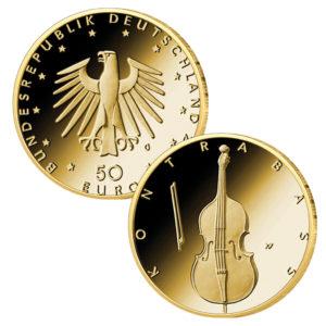 BRD 50 Euro Goldmünze 2018 Der Kontrabass, Copyright BADV, Entwurf: Erich Ott