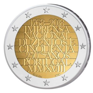 """Portugal 2 Euro Gedenkmünze 2018 """"250 Jahre Nationale Druckerei"""""""