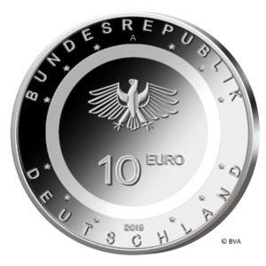 """BRD 10 Euro 2019 """"In der Luft"""" mit lichtdurchlässigem Kunststoffring, Wertseite, Copyright BVA"""