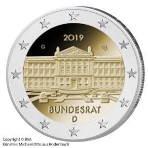 """2 Euro 2019 """"Bundesländer-Serie: 70 Jahre Bundesrat"""", Copyright BVA, Künstler Michael Otto, Rodenbach"""