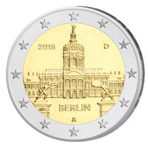 """Foto der geprägten Münzen BRD 2 Euro-Gedenkmünze 2018 """"Serie Bundesländer – Berlin: Schloss Charlottenburg"""", Präegstätte A (Berlin)"""