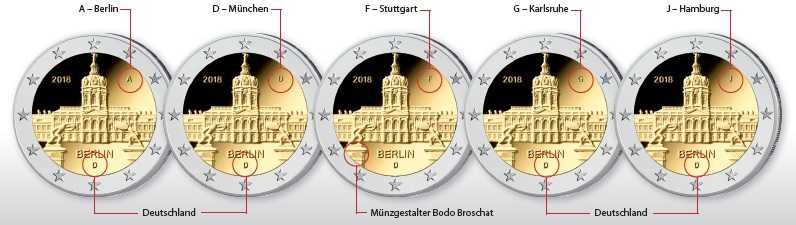 """Ursprünglich veröffentlichte Platzierung der Münzeichen auf der BRD 2 Euro-Gedenkmünze 2018 """"Berlin – Schloss Charlottenburg"""" (Entwürfe BADV)"""