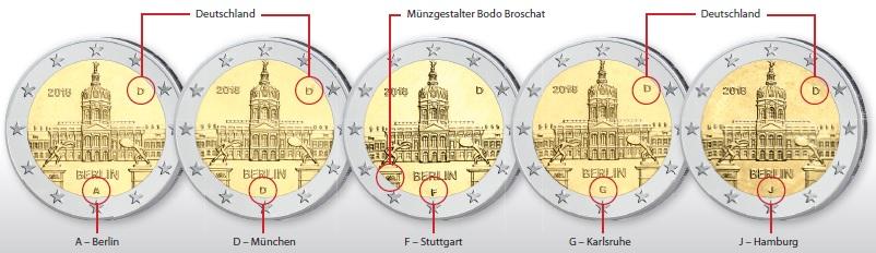 """Platzierung der Münzeichen auf der BRD 2 Euro-Gedenkmünze 2018 """"Berlin – Schloss Charlottenburg"""" auf der geprägten Münze (Fotos)"""