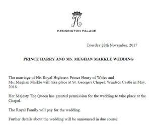 Tweet des Kensington Palace zur Hochzeit