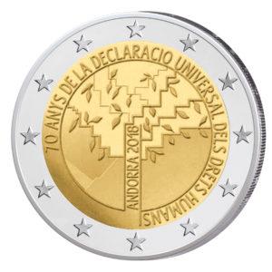 """Andorra 2 Euro-Gedenkmünze 2018 """"70. Jahrestag der Allgemeinen Deklaration der Menschenrechte"""""""